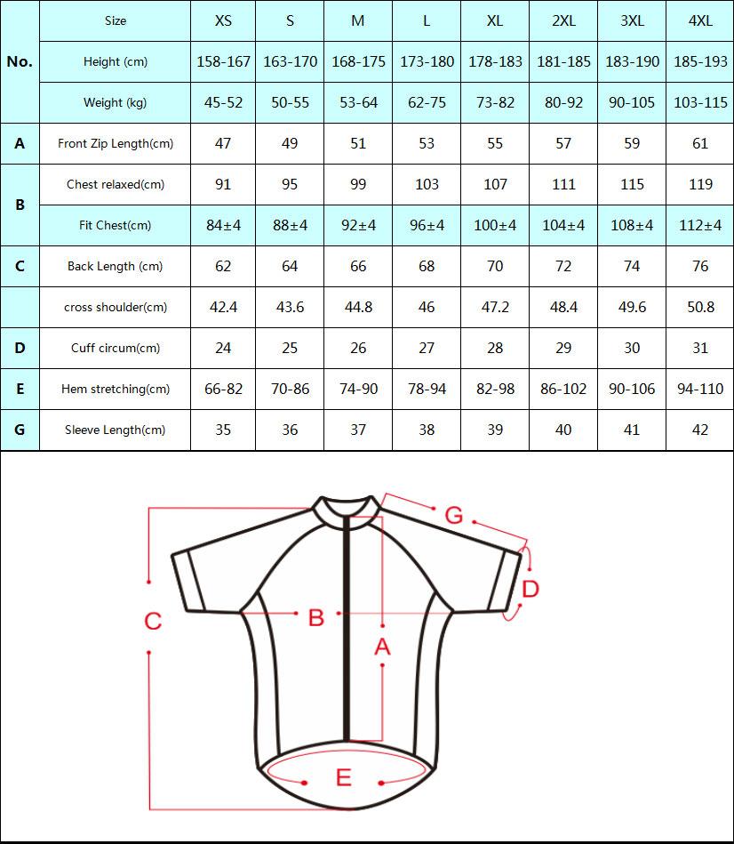 DVJ082 Reflective Jersey Size Chart
