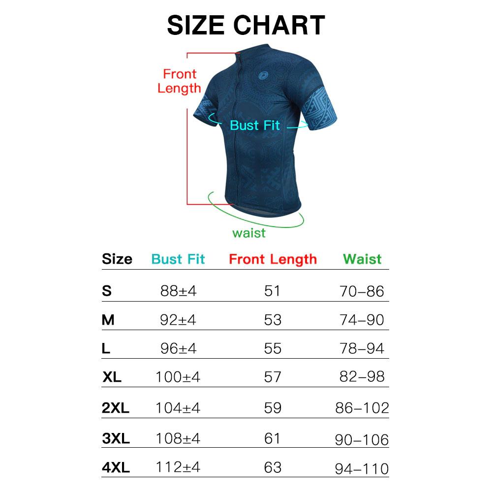 DVJ083 Cycling Jersey Size Chart