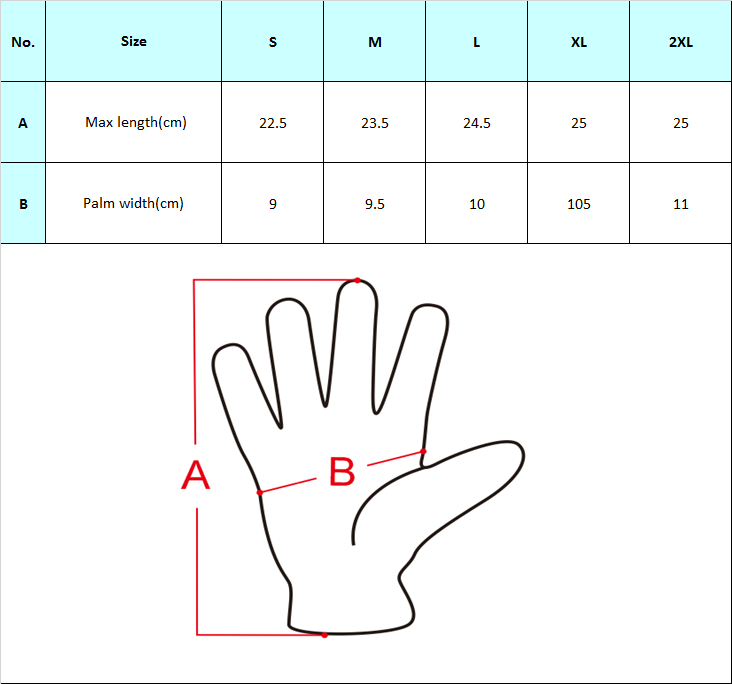 DVG003 Touch Screen Gloves Size Chart